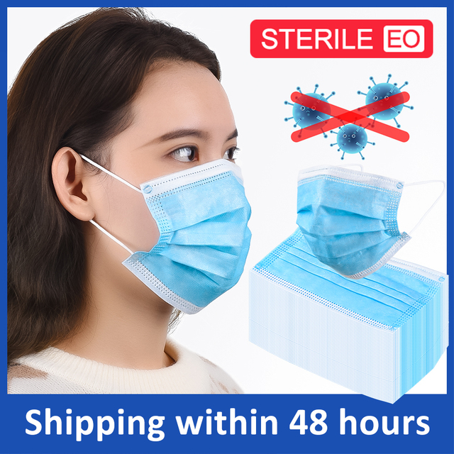 100pcs 3 Layer Non-Woven Dust Medical Mask Thickened Disposable Dust Bacteria Proof Mask Protective Mouth Mask Prevent Flu