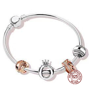 NEW 2018 New Hot Sale 100% 925 sterling silver Bracelet For In Love Gift Set For Women Bangle Rose Bead Charm DIY Jewelry