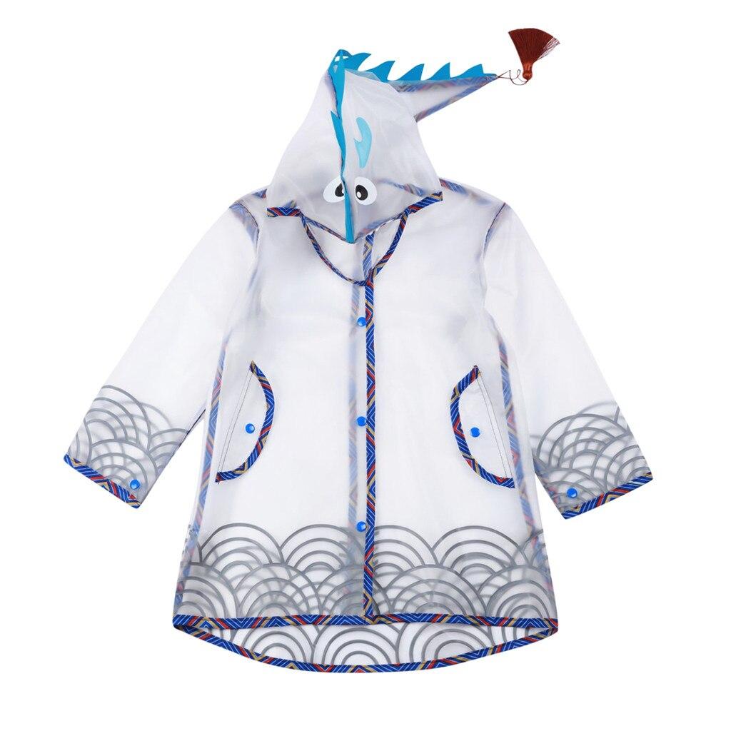Toddler Raincoat Kids Baby Boy Girl Cartoon Dinosaur Hooded Zipper Waterproof Clothes Coat Outdoors Rain Wear