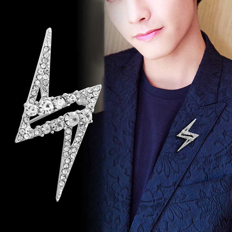 Coreano di Modo Cubic Zirconia Star Spilla Spille per Gli Uomini Button Risvolto Del Vestito Corpetto Distintivo Colletto Della Camicia Accessori di Gioielli di Lusso
