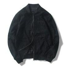 Original design deerskin male zip jacket collar casual baseball shirt