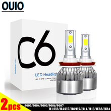 1pair C6 LED Car Headlight Bulbs Led Lamp for Auto 7200LM 72W COB Chip Fog Lights 12V 6000k H1 H3 H4 H7 H13 9004 9005 9006 HB3