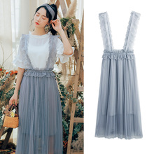 Spring and summer new style Sweet little fresh fairy mesh skirts Temperament cute lace strap shirts