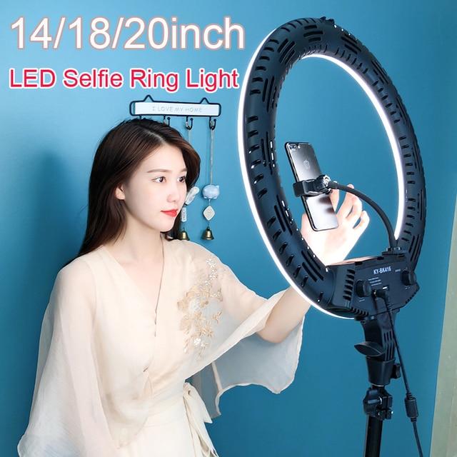 """LED حلقة مصباح 10 """"14"""" 18 """"22"""" عكس الضوء Selfie مصباح مصمم على شكل حلقة 3200 5600K مع حامل ثلاثي القوائم التصوير الفوتوغرافي الإضاءة لفيديو يوتيوب"""