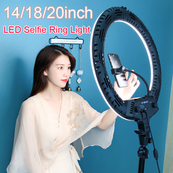 Photo Studio 14 18 20 Ring Light 3200-5600K Stepless adjusted Warm& Cold Lighting Photographic Selfie Light with Phone Holder