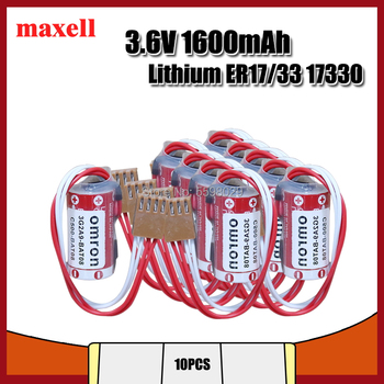 10pcs New Genuine MAXELL ER17/33 17330 ER17330 2/3AER 2/3A 3.6V 1600mAh Lithium PLC Battery with For Four- Hole Plug
