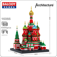 Balody 16066 World Famous Vasile Assumption Cathedral Church Model Micro DIY Diamond Building Small Blocks Assembly Toy no Box