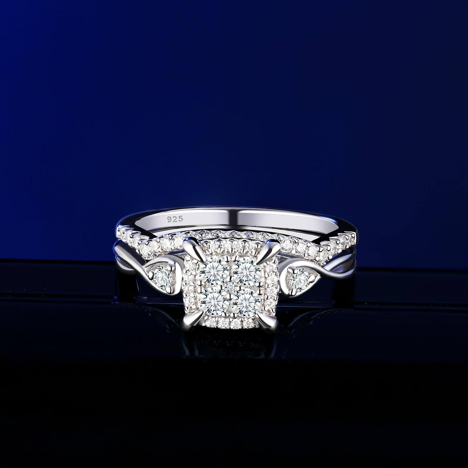 Newshe 2 pièces solide 925 en argent Sterling anneaux de mariage pour les femmes AAA cubique Zircons Unique ensemble de mariée classique bijoux BR0994 2