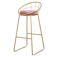 Nordic Bar Chair Light Luxury High Foot Stool for Sale Gold Metal Chair Modern Simplicity Commercial Furniture Cheap