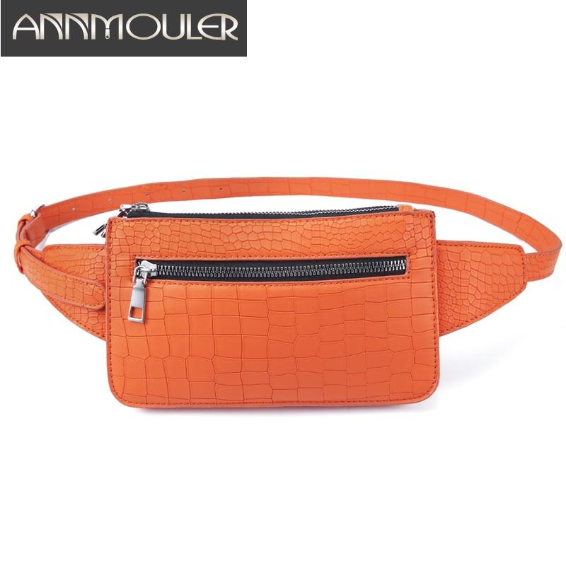 Annmouler Fashion Women Waist Bag Pu Leather Fanny Pack 4 Color Fanny Bag Alligator Pattern Chest Bag Adjustable Phone Pocket