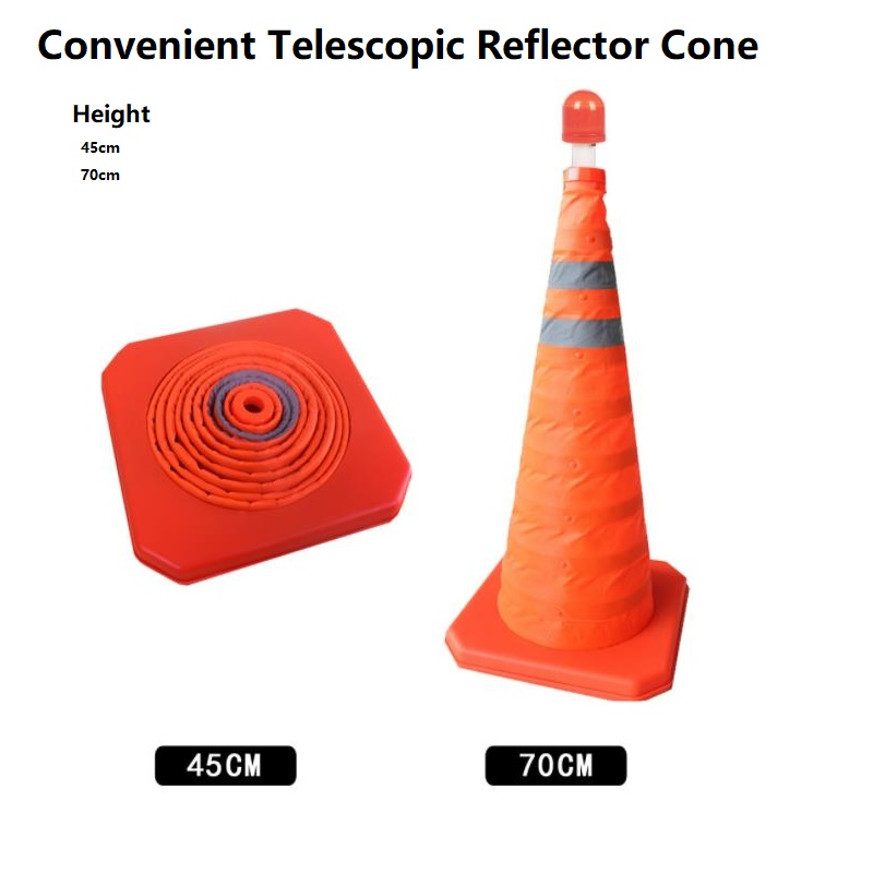 Telescopic Lifting Type Warning Folding Road Cone Barricade Rubber Reflective Barricade Cone With LED Light Road Traffic Signs