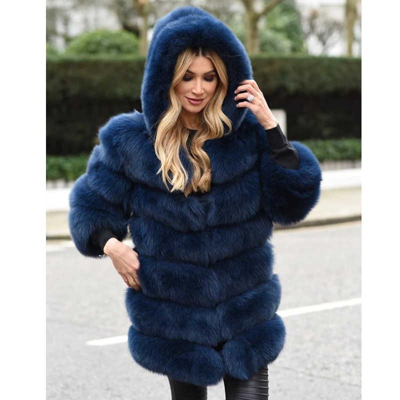 Fandy Lokar אמיתי שועל פרווה מעילי נשים אופנה מוצק אמיתי מעילי נשים אלגנטי ברדס ארוך מעילי נקבה גבירותיי הא