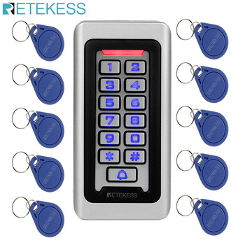 Retekess T-AC03 Keypad RFID Access Control System Proximity Card Standalone 2000 Users Door Access Control Waterproof Metal Case homsecur waterproof touch keypad ic access control system electric lock with keys