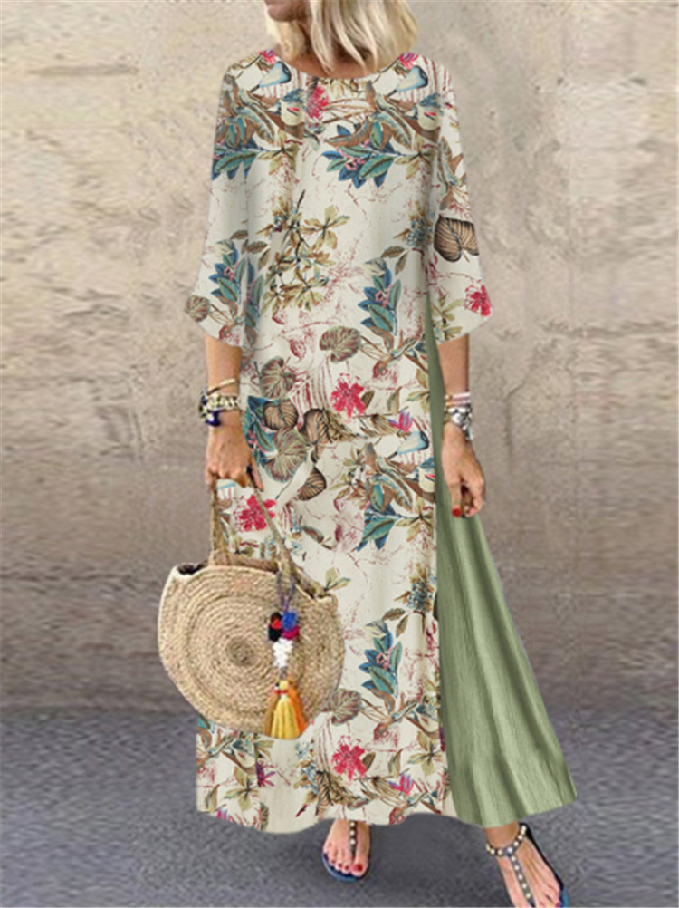 Spring  Vintage  DressFloral Print Midi Long Irregular Dress  3/4 Sleeve Of Sleeve Round Collar Ramie CottonPlus Size  5XL Dress
