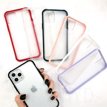 bottom hard Matte Translucent Case For iPhone XR XS 11 Pro Max X Shockproof Soft-edged candy color Case For iPhone 6 7 8 6s plus