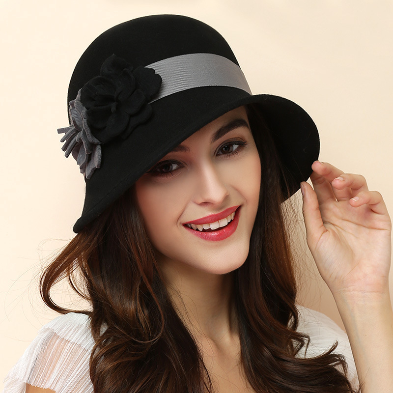 100% Australian Black Wool Felt Fedora Hats For Women Vintage Wide Brim Winter Church Cloche Derby Hat Fedoras Flower Cap