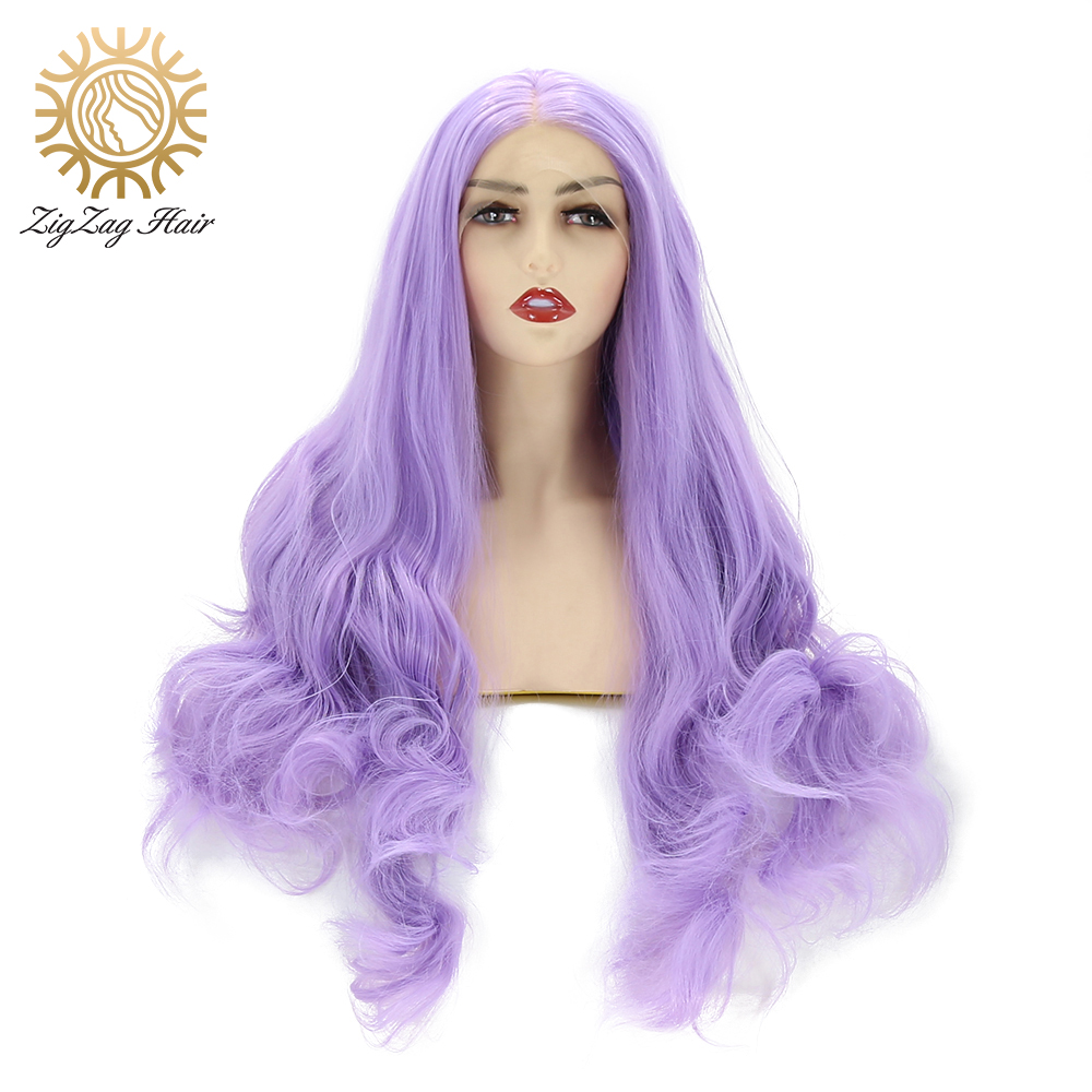 ZigZag Purple Wig Wavy Lace Front Wig Violet Long Natural Glueless Synthetic Wigs For Women Lavender Heat Resistant Fiber Hair
