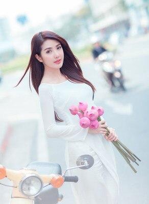 2020 Vietnam Aodai Chinese Traditional Clothing For Woman Solid Long Dress Chinese Oriental Dress Modern Cheongsam Ao Dai Dress