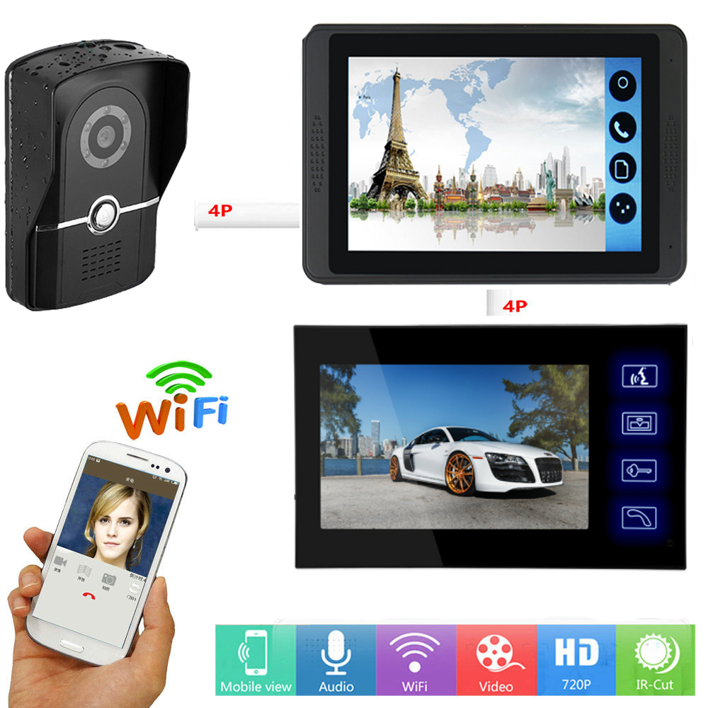 Video Door Intercom 7 Inch LCD WIFI Wireless Video Door Phone Doorbell Speakerphone Intercom System APP Remote Unlock SD Record