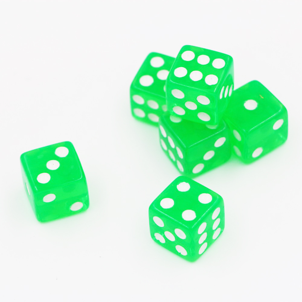 Cross Border Supply of Goods Crystal Transparent Green Dice Square Corners Transparent Dice Acrylic Dice 1.6 Cm