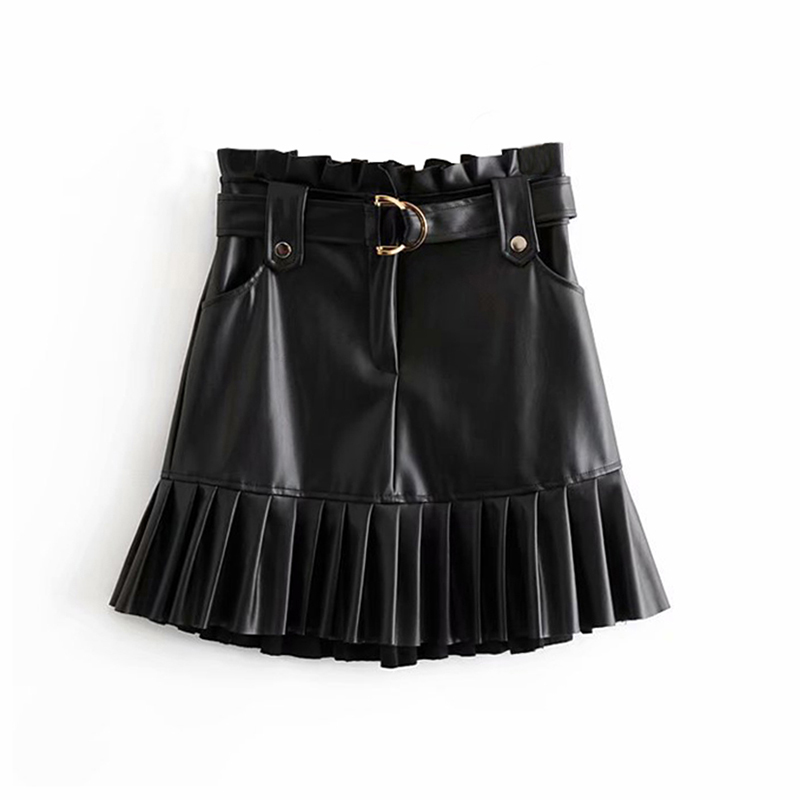 Women Black PU Leather Skirt With Belt Fashion Streetwear Ruffles Pleated Mini Skirts A-line Party Club Sexy Short Skirt