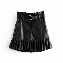Women Black PU Leather Skirt with Belt Fashion Streetwear Ruffles Pleated Mini Skirts A-line Party Club Sexy Short Skirt(China)