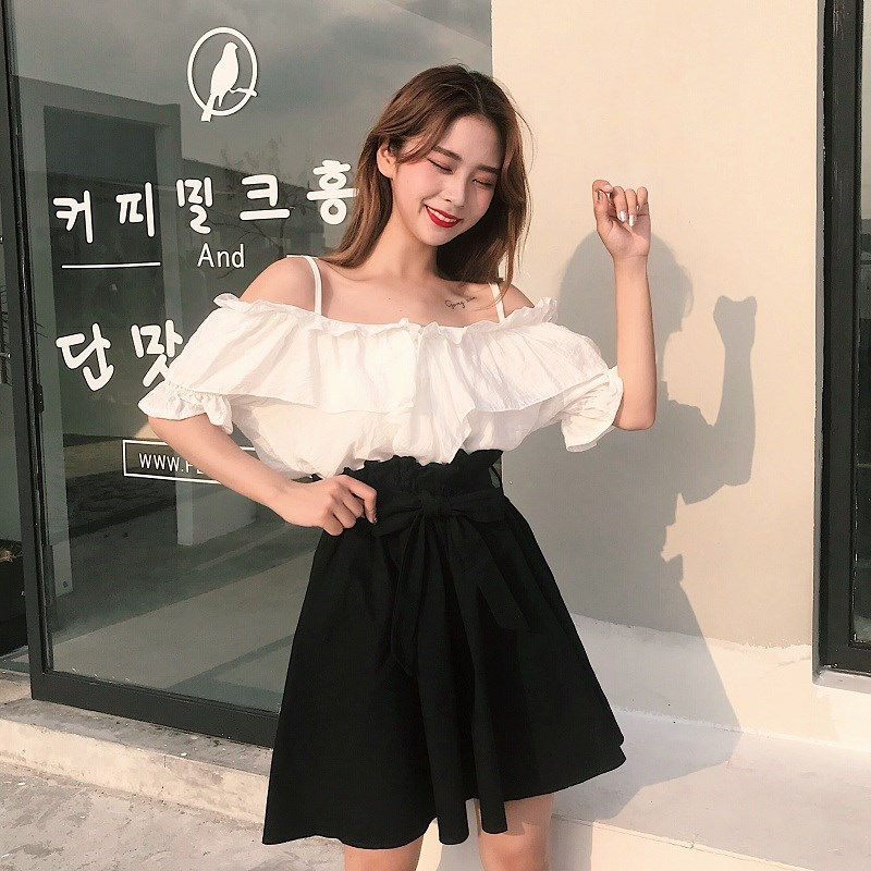 Summer Wear 2019 New Style WOMEN'S Suit Flounced Off-Shoulder White Top + Bandage Cloth High-waisted Bud Waist Hugging Skirt
