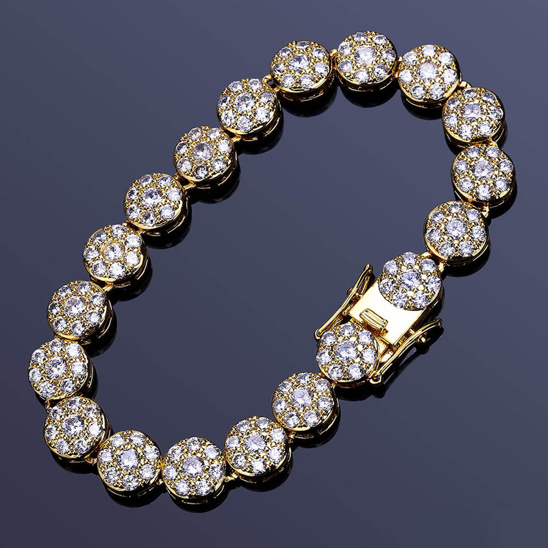 Fashion Rhinestone Natural Zircon Metal Chain Bracelet Men 39 s Hip Hop Wind Jewelry Alloy Material Gold and Silver Ladies DIY in Cuff Bracelets from Jewelry amp Accessories