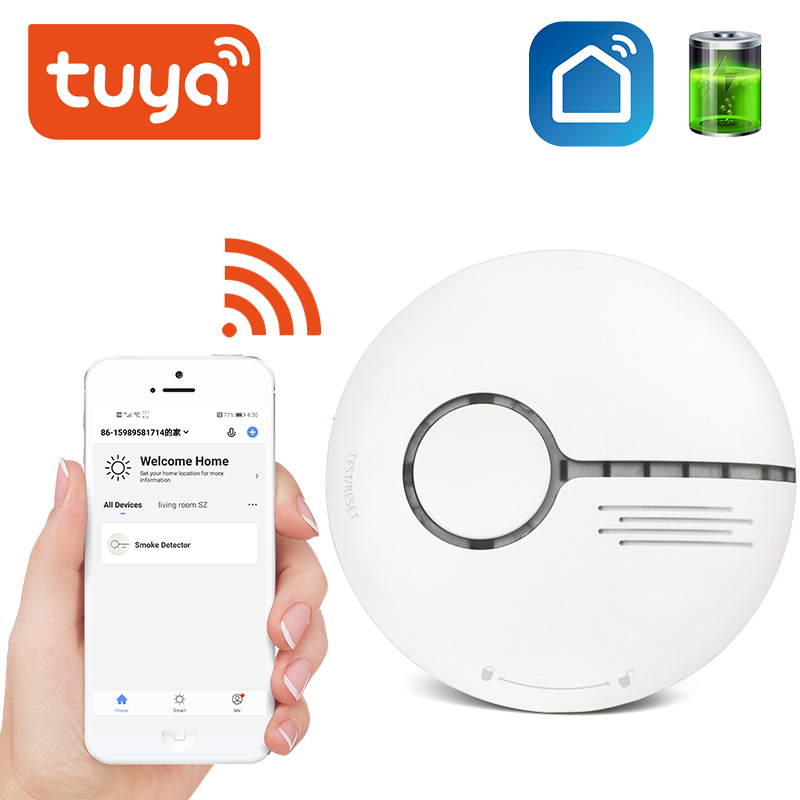 Tuya Wireless Security Alarm System Smoke Detector Smart Life Standalone WiFi Smoke Temperature Detector Sensor WiFi