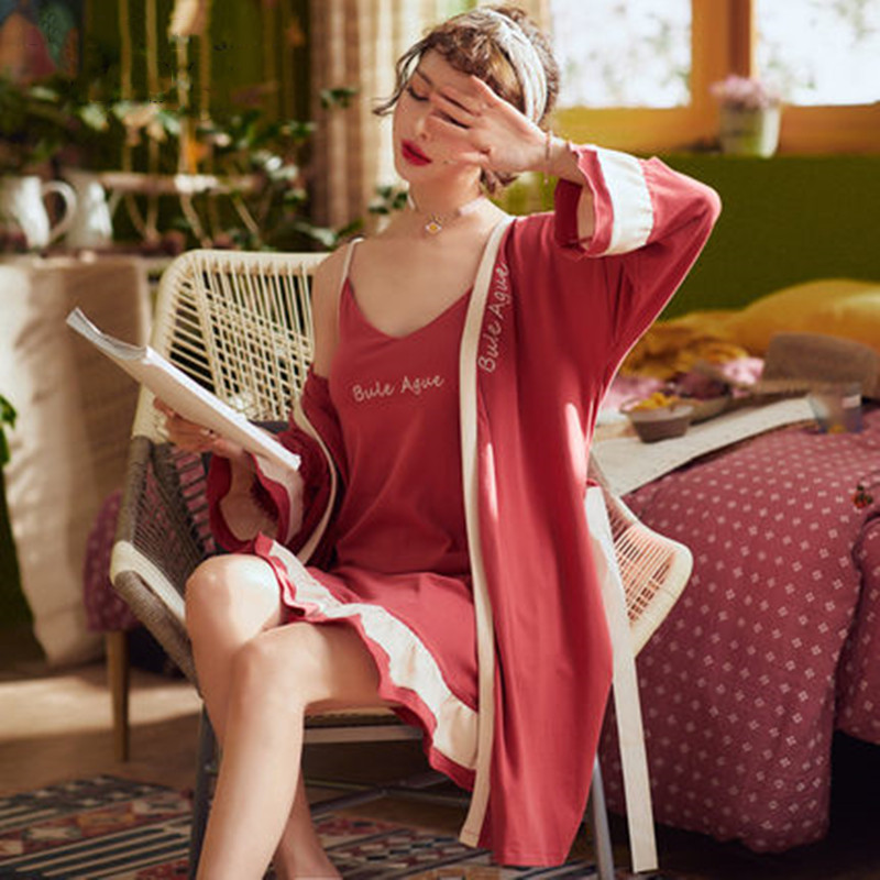 New spring and summer long sleeve Pajama women's nightdress long pure cotton sexy suspender robe two piece set autumn Bath Robe