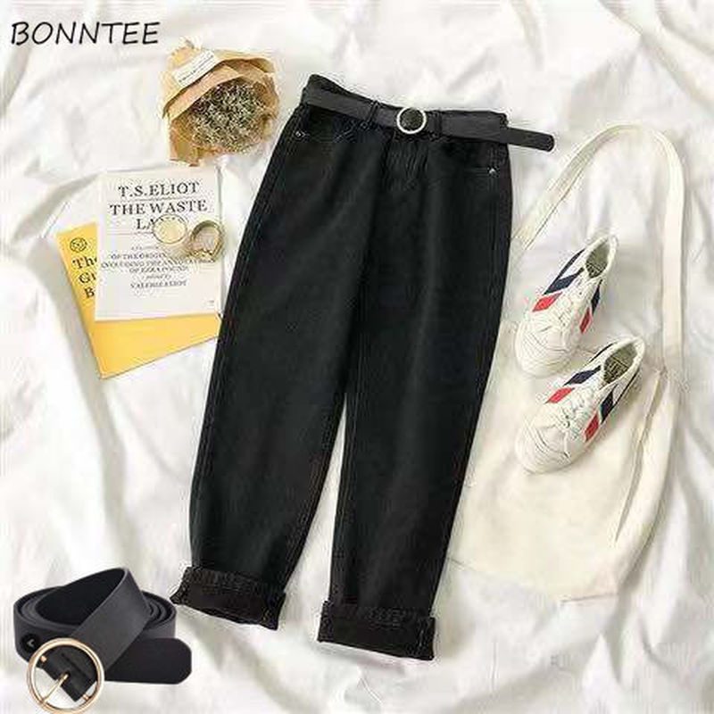 Jeans Women High Waist All-match Loose 2XL BF Daily Ankle-length Denim Trousers Womens Vintage Simple Straight Ulzzang Kpop New