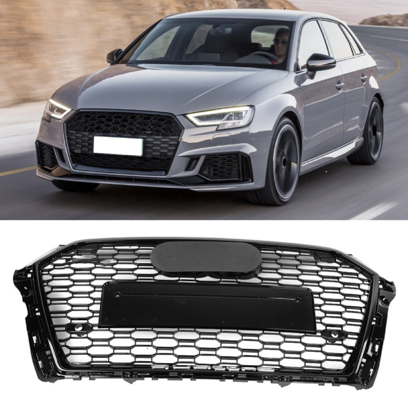 For RS3 Style ABS Front Sport Hex Mesh Honeycomb Hood Grill Gloss Black Universal for Audi