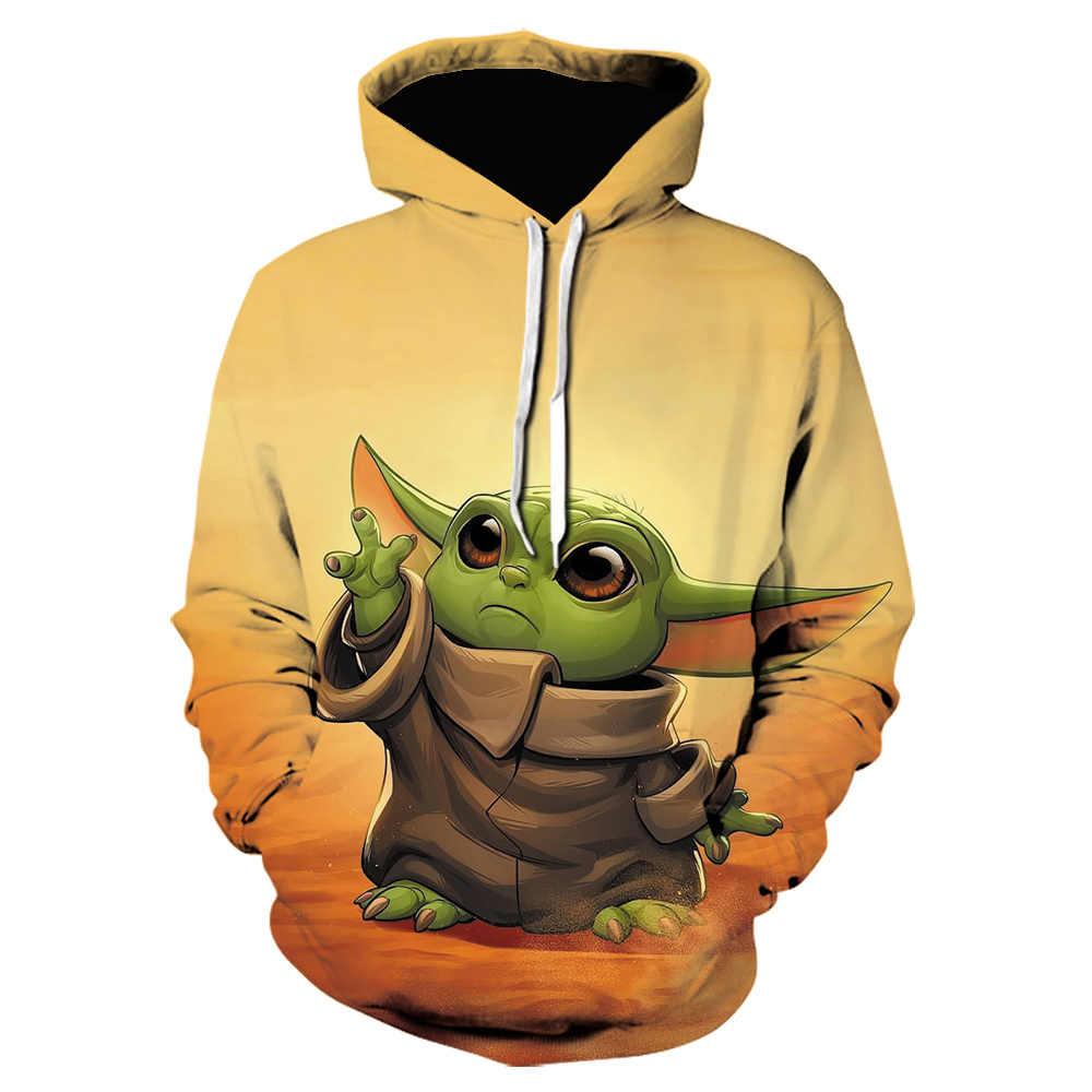 2020 스타 워즈 baby yoda mandalorian 캐주얼 남성 후드 티 스웨터 맞춤형 3D 프린트 가을 겨울 Streetwear 힙합 자켓