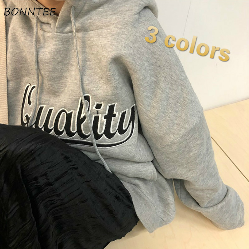 Hoodies Women Plus Velvet Letter Printed Hooded Oversize BF Unisex Street Style All-match Daily Chic Harajuku Womens Pullover