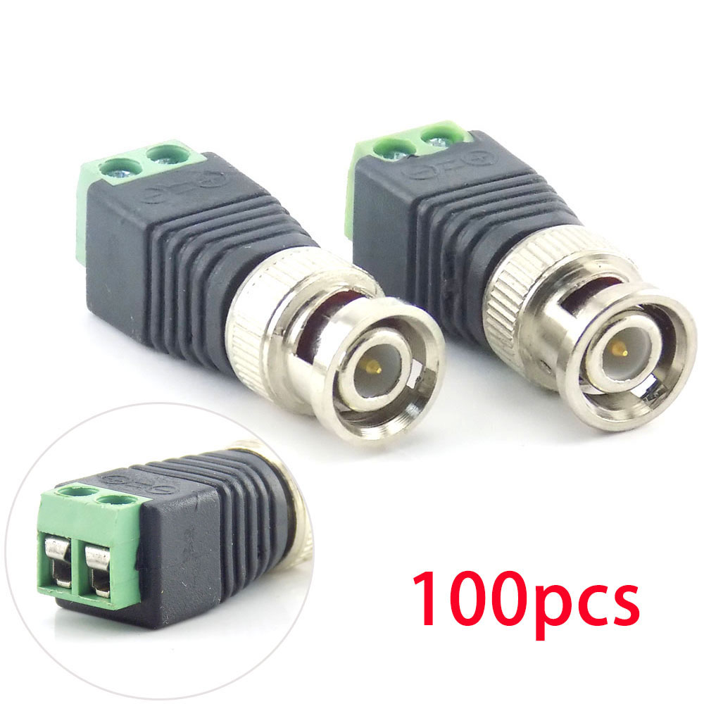 100Pcs Wholesale BNC DC Male Connector Plug Adapter Video Balun Coax CAT5 For CCTV Camera Security Surveillance Accessories K09