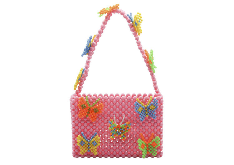 Popular Bead Bag Rainbow Hand-woven Pearl Celebrity Handbag Unique Design Colourful Ladies Party Bag Totes Acrylic Evening Party