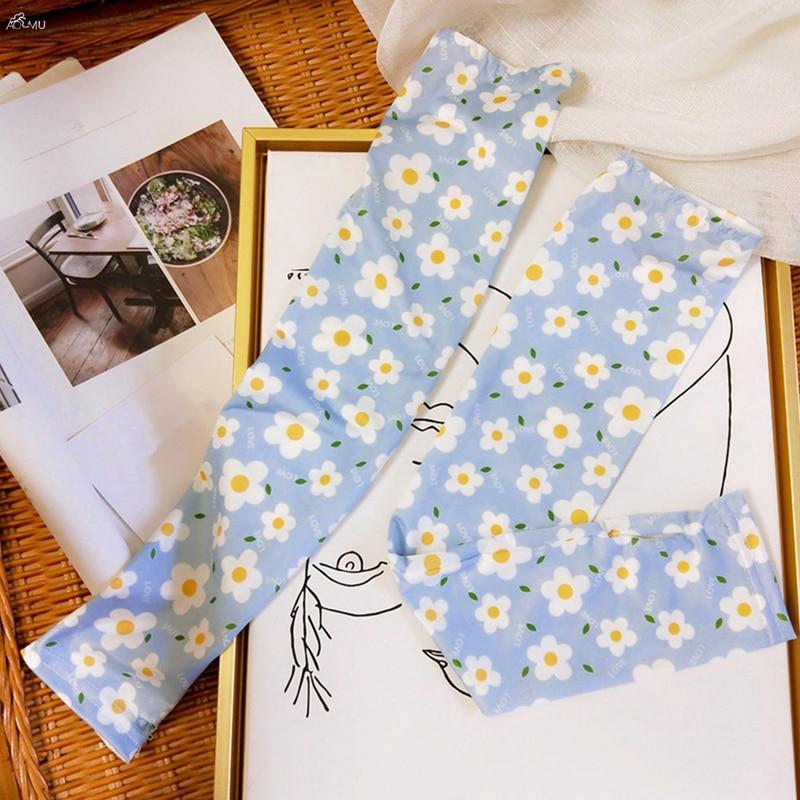 Korea Ins Fashion Woman Sleeve Arm Gloves Manga Daisy Cartoon Fruit Animal Thin Summer Anti-mosquito Sunscreen Bands