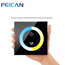 FEICAN DC12-24V Wall Type Smart LED Touch Panel Controller Color Temperature Control For Cold/Warm 5050 3528 LED Strip LED Light