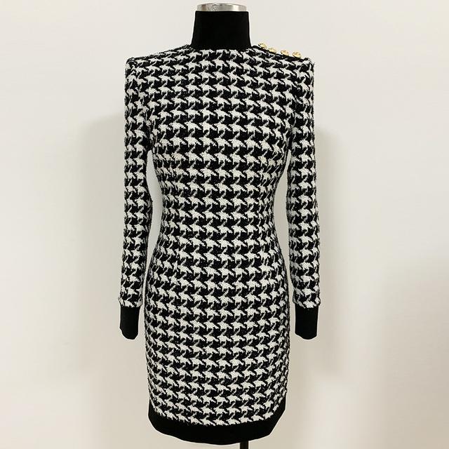 Wysokiej jakości Runway 2019 stylowa designerska sukienka damska guziki z lwem Shimmer Tweed Houndstooth Dress tanie i dobre opinie O ZACKET COTTON Poliester Przycisk Jesień Naturalne High Street Płaszcza Pełna Plaid Kobiety Golfem REGULAR Powyżej kolana Mini