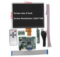 Pantalla LCD IPS de 8 pulgadas, placa de Control de controlador de Monitor de alta resolución, 2AV, HDMI, Compatible con VGA para Raspberry Pi Orange Pi PC