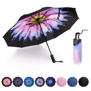 Image 1 - 역방향 접이식 소형 여행 자동 우산 인사이드 아웃 썬 비 여성 우산 10 갈비 여성용 Unbrellas