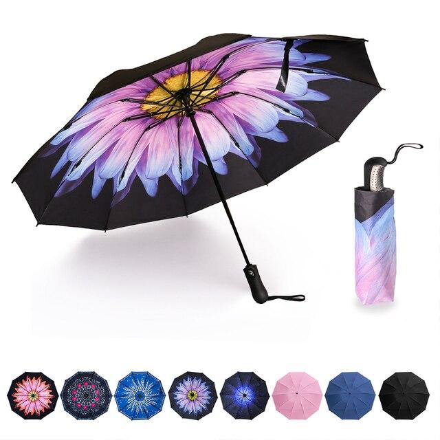 역방향 접이식 소형 여행 자동 우산 인사이드 아웃 썬 비 여성 우산 10 갈비 여성용 Unbrellas