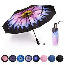 พับขนาดกะทัดรัดร่มอัตโนมัติ Inverted Inside Out Rain Rain ผู้หญิงร่ม 10 ซี่โครงสตรี Unbrellas