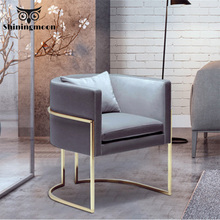Nordic Fashion Gold Single Sofa Chair Restaurant Dining Room Chairs Modern Office Meeting Business Home Chair Coffee Shop Chair