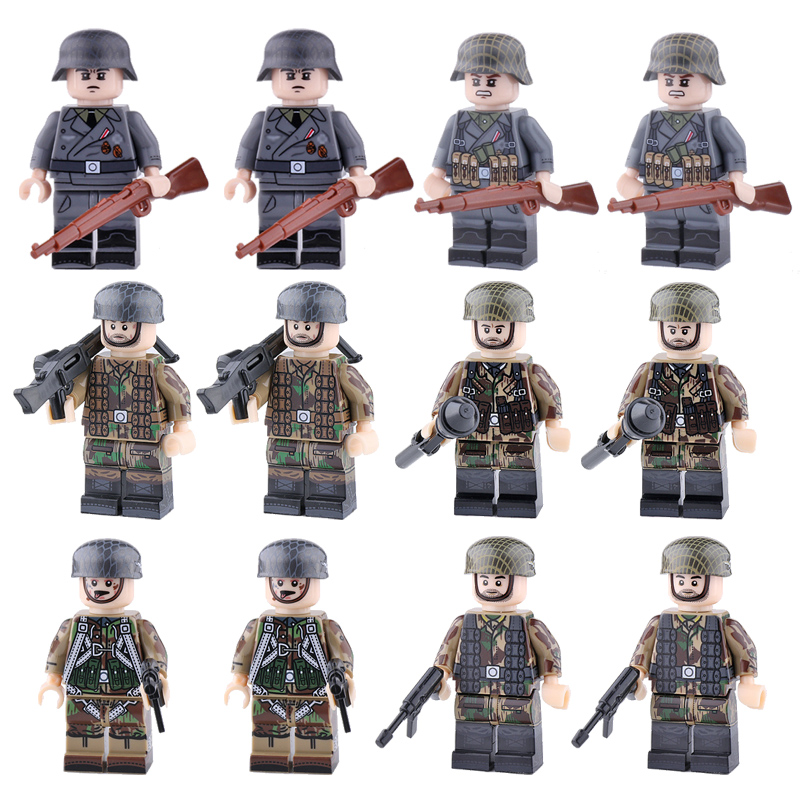 New WW2 Army Soldiers Figures Blocks Germany USA Airborne Division Helmet Weapons Accessories Building Bricks Toy For Children