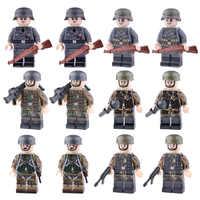 Nova ww2 soldados do exército figuras blocos alemanha eua airborne divisão capacete armas acessórios tijolos de construção brinquedo para crianças