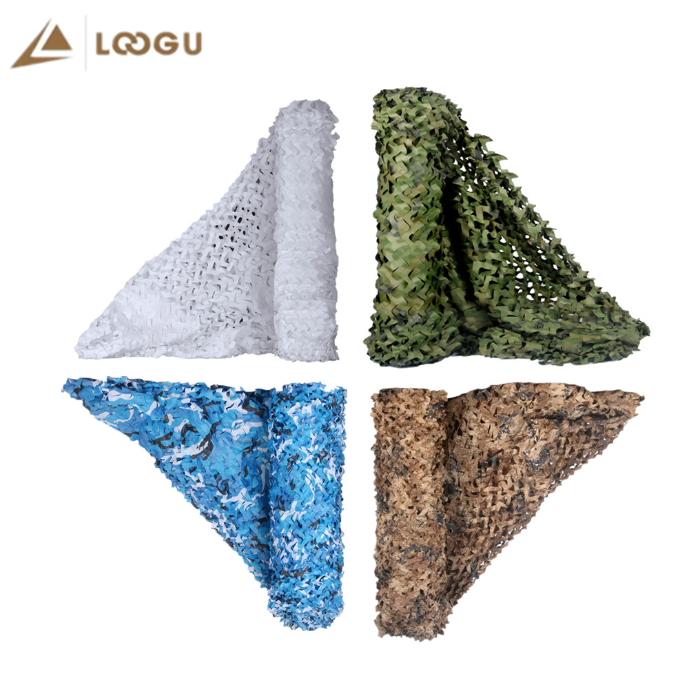 LOOGU Reinforced Army Camo Netting Military Camouflage Nets Blue Sand White Hunting Outdoor Awning Garden Shade Camping Fishing