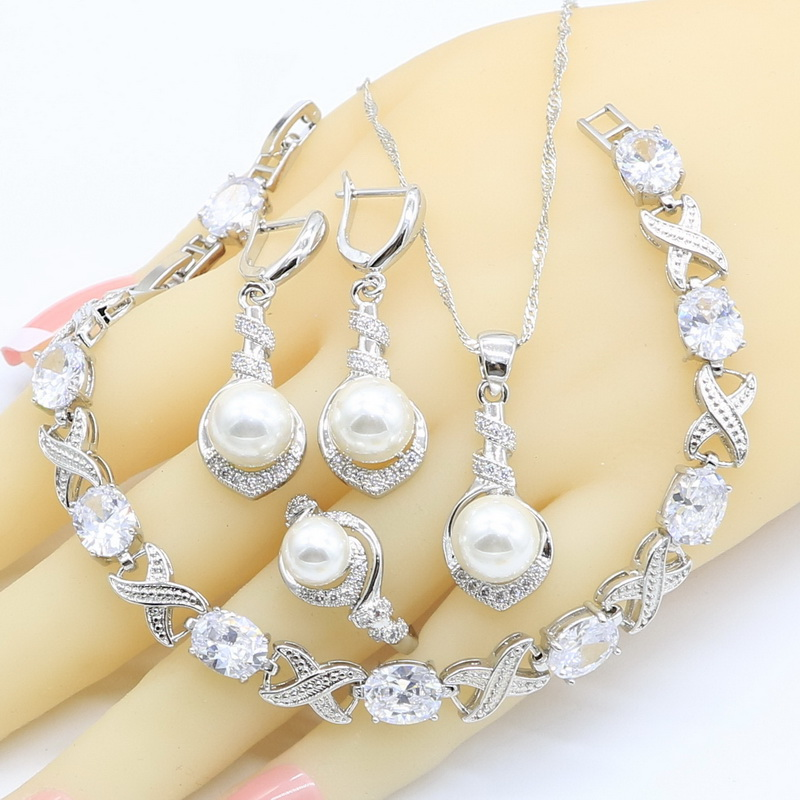 Jewelry-Sets Rings Necklace Pendant Zircon Pearl 925-Silver White Women for Bracelet