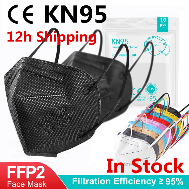 5-200PCS FFP2 MASK 5 Layers Adult Black KN95 Fabric Mascarillas Protective Mouth Face Mask KN95 CE Filter Respirator FFP2MASK