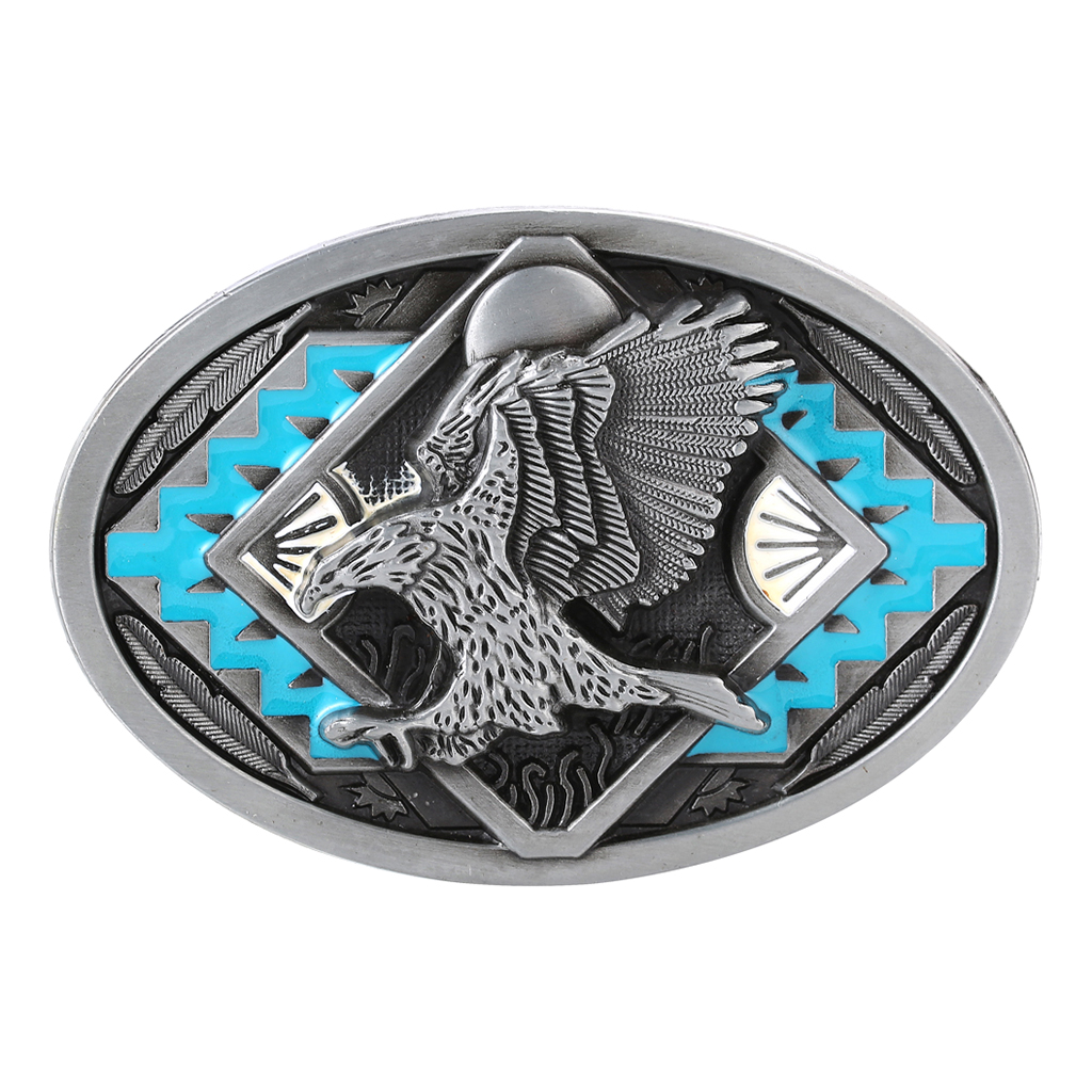 Western Cowboy Rodeo Oval Strap Buckle Mens Engraved Eagle Totem Belt Buckle Vintage Belt Buckle Men's Antique Belt Accessories